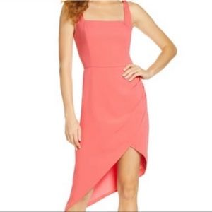 Harlyn Square Neck Dress Asymmetrical Pink Spring